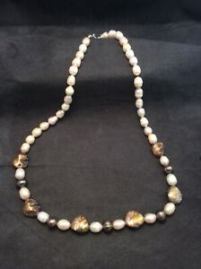 """Sterling Silver Mother Of Pearl And Beige Freshwater Pearl Beaded Necklace 22.5"""""""