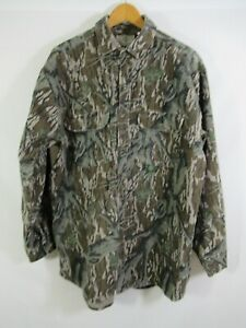 Vintage Mossy Oak Camo Thick Flannel Hunting Shirt XL USA Made Chamois