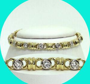 ".80CT! Platinum H VS2 diamond bracelet 14K YG 14 round brilliant 15.6GM 6 1/4"" L"