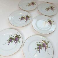 "Vtg Porcelain 6 Plates Hand Painted Wisteria Flower Vines 7 3/4"" Koshida Japan"
