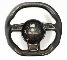 Audi A4 A6 C6 A7 Carbon Fibre Steering Wheel WHITE Stitching Flat Bottom