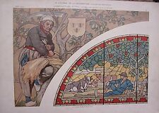 PLANCHE TIRE JOURNAL DECORATION VERS 1900 AGRICULTURE VITRAIL AQUARELLE G. STURM