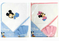 Disney 2pc Mickey Minnie Mouse Infant Baby Hooded Towel +Washcloth Set Blue Pink