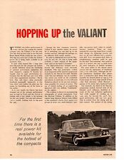 1960 HOPPING UP THE VALIANT ~ ORIGINAL 4-PAGE ARTICLE / AD