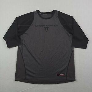 Under Armour Baseball Shirt Adult XL Men Gray Black 3/4 Sleeve Athletic Season
