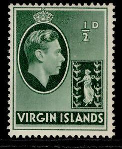 BRITISH VIRGIN ISLANDS GVI SG110a, ½d green, LH MINT. ORDINARY