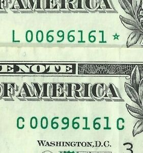 Matching Serial Numbers! - $1 Bills Star Note 2001 & 2003 - Rare Fancy