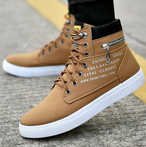 Men's High Top Oxford Suede Casual Shoes Fashion Flat Lace Up Athletic Sneakers