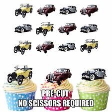 PRECUT Vintage Classic Cars 12 Edible Cupcake Toppers Decorations Mens Birthday