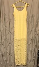 Charlotte Russe Floral Yellow Lace Sleeveless Dress Size XS  full length