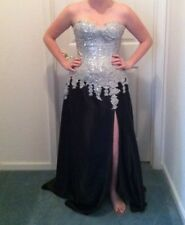 259cfcdc7ca99 Jovani Silver And Black Evening Gown/ Prom Dress / Formal Dress size 6