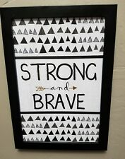 Strong and Brave Tribal Wood Wall Decor Frame black grey white home bedroom kids