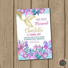 8x little MERMAID under the sea Gold personalised birthday party invitations