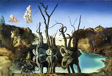 Salvador Dali Swans reflecting in elephants 8.3X11.7 canvas print reproduction
