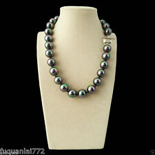 "Rare Huge Rainbow Black 14mm South Sea Shell Pearl Heart Clasp Necklace 18"" AAA"