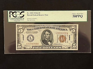 Fr. 2302 1934A $5 Hawaii Overprint U.S Federal Reserve PCGS Ch. About New 58 PPQ