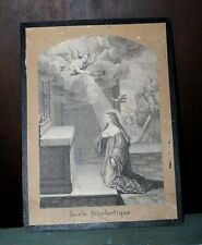 Gravure Sainte Scholastique soeur de Saint Benoit XIXe Siècle