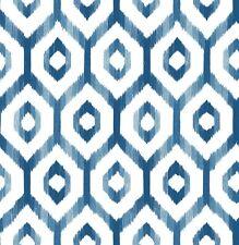Lucia Ikat Wallpaper Navy/Aqua