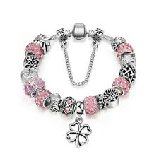 Murano European Crystal Beads Charm Bracelet - Silver Pink