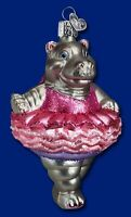 TWINKLE TOES HIPPOPOTAMUS HIPPO OLD WORLD CHRISTMAS BALLERINA ORNAMENT NWT 12125