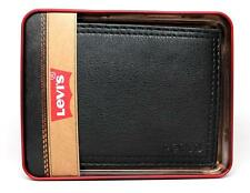 NEW LEVI'S MEN'S PREMIUM LEATHER CREDIT CARD ID WALLET BILLFOLD BLACK 31LV1344