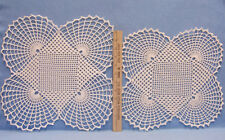 Crochet Doilies Unique Handmade White Square Center Half Circle Edges lot of 2