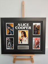 UNIQUE PROFESSIONALLY FRAMED, SIGNED ALICE COOPER PHOTO COLLAGE WITH PLAQUE.