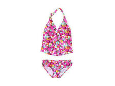 Roxy *4*  Girls Pink Floral Tiki Tankini Swimsuit 2 Pc Beach Surf Hawaii Bikini