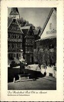 Bad Orb Spessart alte Postkarte 1958 gelaufen Marktbrunnen mit Fachwerkhäusern
