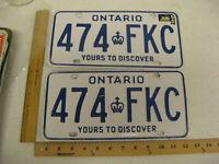 1990 90 ONTARIO CANADA CANADIAN LICENSE PLATE PAIR SET # 414 FKC