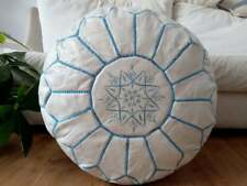 Leather white Pouf with Blue Stitching Moroccan handmade Unstuffed footstool