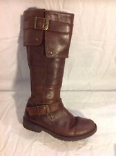 Girls Clinks Brown Leather Boots Size 32
