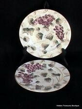 Oneida Veneto 2 Salad Plates Hand-Painted Beige Brown Arches Pink/Purple Grapes