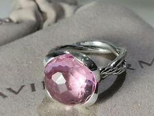 David Yurman Sterling Silver Pink Morganite color 14mm Continuance Ring,  size 7