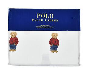 Polo Ralph Lauren White Cotton Teddy Bear 3 PC Twin Sheet Set New
