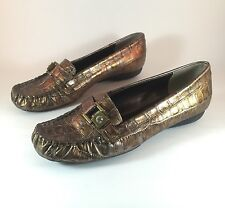 Women's VANELI Van Elii Metallic Gold Croc Print Loafer Slip On Shoes Sz 6