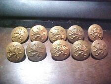 10 Antique Military Metal Jacket Buttons Rampant Lion Uniform AWESOME BUTTONS!!