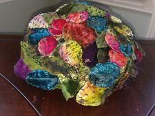 Vintage Amy New York Colorful Velvet Fruit Tutti Frutti Netting Fascinator Hat