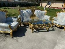 Conjunto de sofá de estilo barroco Silik Italia, 2 asientos + 2 Sillones + Mesa #S22