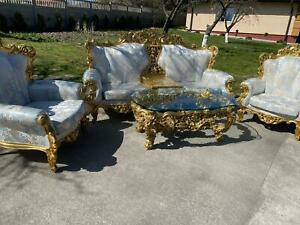 SILIK ITALY BAROQUE STYLE  SOFA SET 2 SEATER + 2 ARMCHAIRS + TABLE  #S18