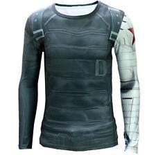 Captain America Lycra Long Sleeve T-Shirts for Men