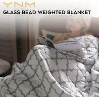 "NEW YnM Cooling Weighted Blanket 15 Lbs 48"" x 72"" Twin Lattice Scroll 100% Oeko"