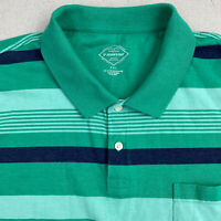St John's Bay Polo Shirt mens 2XL Green Blue Short Sleeve Striped Cotton Casual