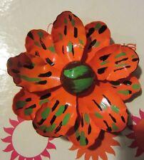 flower brooch / pin Vintage orange / green