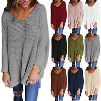 Women V Neck Jumper Pullover Knit Long Sleeve Loose Sweater Casual Top Plus Size