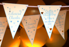 BOYS CHRISTENING BANNER PERSONALISED BAPTISM CONFIRMATION BUNTING 3M 12 FLAGS