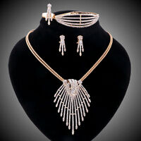 Clear Crystal Necklace Earring Bracelet Ring Set Wedding African Jewelry Sets