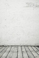 6x8ft Vinyl White Gray Brick Wall Wood Photography Banner Backdrop Background