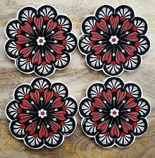 Set of 4 Ceramic Coasters Turkish Ottoman Black Red Flowers Floral Design New