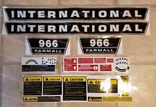 COMPLETE Decal Set for IH 966 Tractor International Farmall - Hood Side Warning